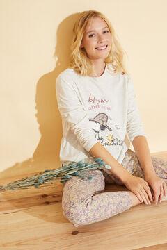 Womensecret Long ivory floral cotton pyjamas beige
