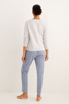 Womensecret Long blue floral print pyjamas grey