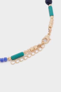 Womensecret Collar corto piedras y abalorios azul