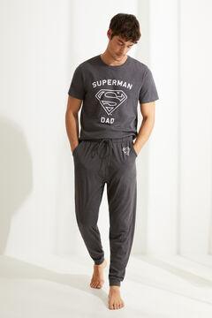 Womensecret Langer Pyjama mit kurzen Ärmeln Superdad Grau