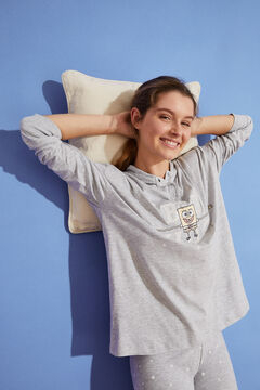 Womensecret Long 100% cotton SpongeBob pyjamas with hood grey