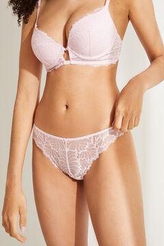 Womensecret Classic pink lace panty with gathering pink