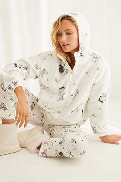 Womensecret Short Snoopy zipped robe white