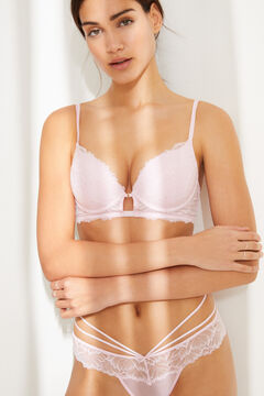 Womensecret GORGEOUS pink lace and tulle push-up bra pink