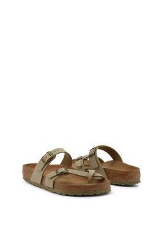 Womensecret Khaki buckle detail thong sandals beige
