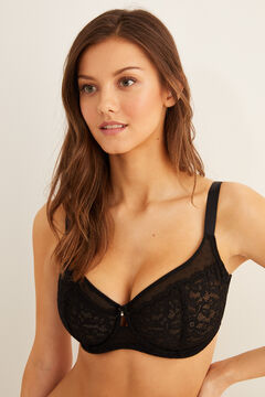 Womensecret Guipure lace reducer bra black