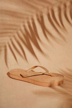 Womensecret Gold sparkly flip-flops nude