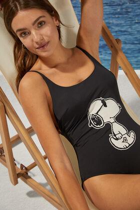 Womensecret Snoopy crossed back swimsuit black