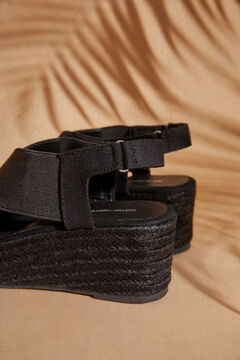 Womensecret Black wedge crossover sandals black