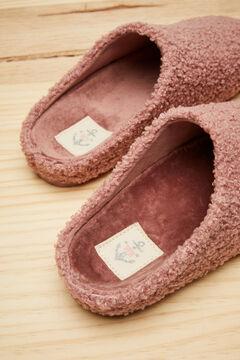 Womensecret Pink faux shearling mule slippers pink