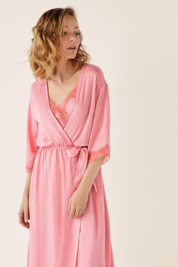 1f4af9a05 Womensecret Bata larga satén y encaje rosa
