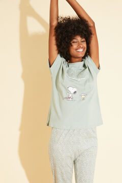 Womensecret Long green cotton Snoopy pyjamas green