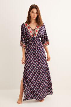 Womensecret Nyomottmintás hosszú ruha kék