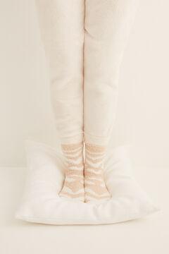 Womensecret Fluffy zebra non-slip ankle socks nude