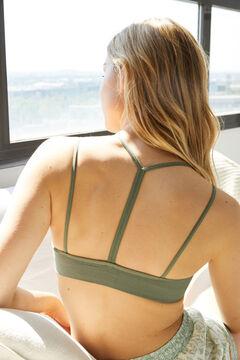 Womensecret Khaki seamless sustainable top printed