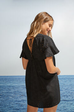Womensecret Cotton tie back tunic dress black