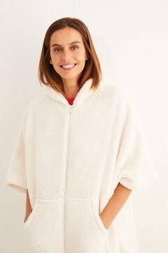 Womensecret Bata polar con capucha blanca beige
