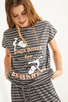 Womensecret Striped Snoopy print pyjamas grey