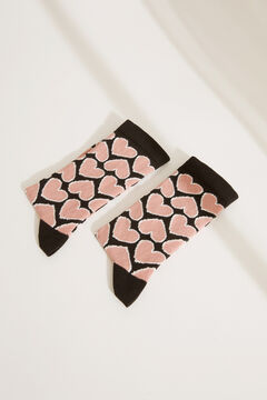 Womensecret Black hearts mid-length socks black