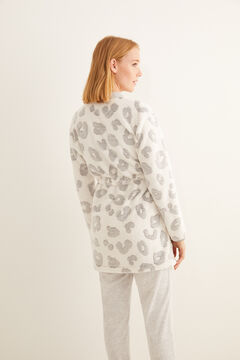 Womensecret Morgenmantel Fleece Animal-Print Grau Grau