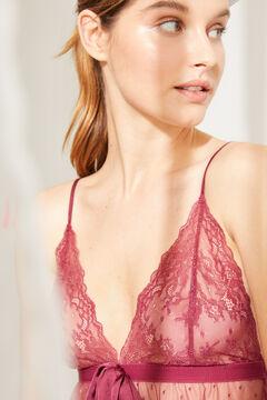 Womensecret Camisa de dormir curta plumetti detalhe renda grená impressão