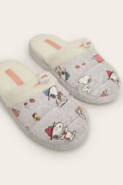 Womensecret Open faux shearling Snoopy slippers grey