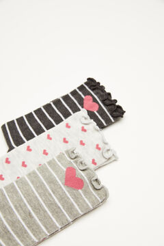 Womensecret 3-pack stripes and hearts socks printed