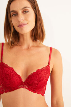 Womensecret GORGEOUS  Corsé push up encaje y tul rojo