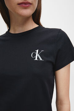Womensecret Camiseta de manga corta de algodón con logotipo de Calvin Klein negro