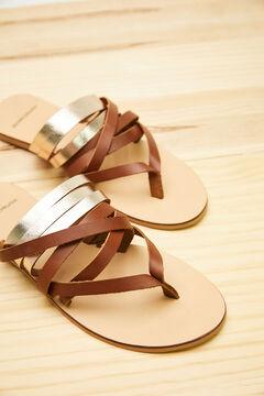 Womensecret Leather multi-strap sandals brown