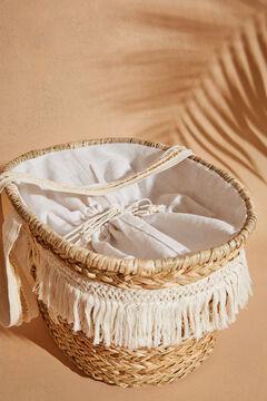 Womensecret Sac cabas plage raphia rayures blanc