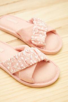 Womensecret Zapatilla casa  tiras cruzadas algodón rosa