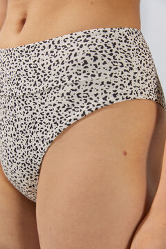 Womensecret High-waist animal print bikini bottoms in recycled fabric nude