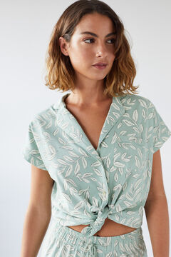 Womensecret Organic cotton leaves classic capri pyjamas green