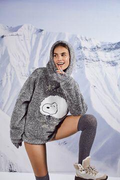 Womensecret Pijama largo fluffy gris Snoopy gris