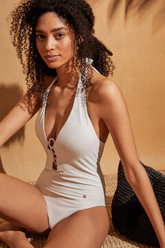 Womensecret White tie V-neck shaping swimsuit beige