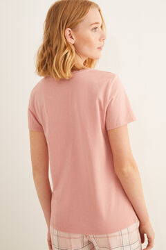 Womensecret Pink short-sleeved Henley t-shirt pink