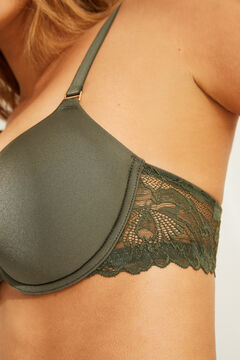 Womensecret BEAUTIFUL Classic green lace and microfibre padded bra beige