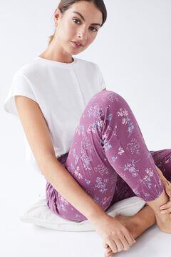 Womensecret Long purple cotton trousers brown