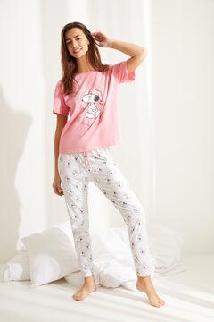 Womensecret Pijama largo manga corta algodón Snoopy rosa