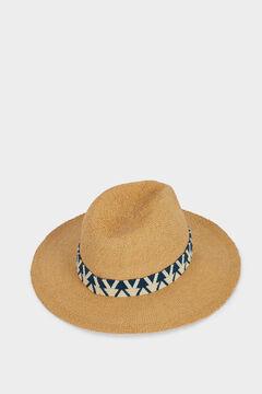 Womensecret Sombrero textura rafia con cinta a contraste marrón
