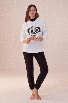 Womensecret Long white fleece Coco pyjamas grey
