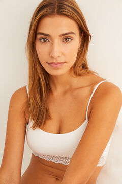 Womensecret Top sin costuras base encaje  blanco