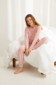 Womensecret Pyjama long rayures super soft rose imprimé