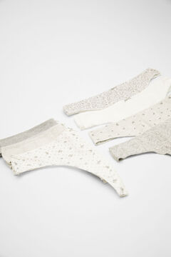 Womensecret 7-pack grey printed cotton tangas white