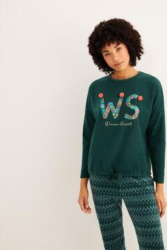 Womensecret Pijama largo polar verde  verde