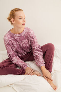 Womensecret Pijama largo velour estampado floral granate blanco