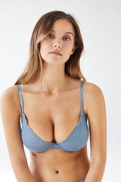 Womensecret BEAUTIFUL Blue lace padded bra blue