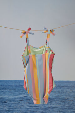 Womensecret Girls' striped print swimsuit printed