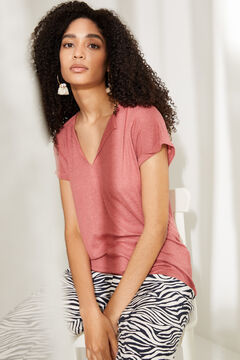 Womensecret Red linen V-neck top pink